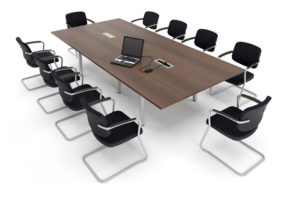 Large wooden conference table