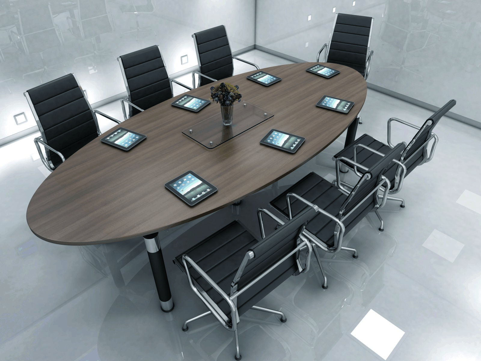Oval conference table - Oval Meeting Desk Round Table