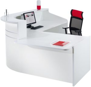 White gloss reception booth