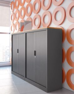 Gray office storage cabinets