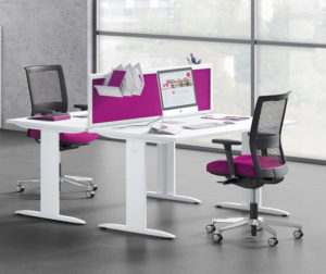 Purple and white office furniture