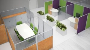 Bright office cubicles