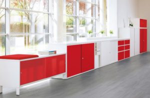 Red and white office furniture