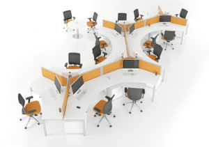 Relay Desk Range in White and Orange