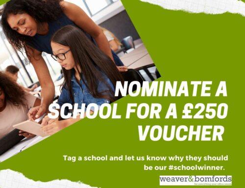 Nominate a school to win a £250 voucher  **Winner announced**